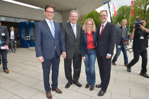 v.l.: Landesvorsitzender Florian Pronold, SPD-Spitzenkandidat Christian Ude, Generalsekretärin Natascha Kohnen und SPD-Fraktionsvorsitzender Markus Rinderspacher (Foto: S. Prager)