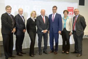 von links nach rechts: Ewald Schurer (Stellvertretender Vorsitzender der BayernSPD), Dr. Markus Rieß (Mitglied im Präsidium der vbw - Vereinigung der Bayerischen Wirtschaft e. V.), Natascha Kohnen (Generalsekretärin der BayernSPD), Alfred Gaffal (Präsiden