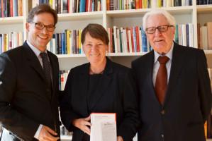 SPD-Landesvorsitzender Florian Pronold, Barbara Hendricks, Schatzmeisterin der BundesSPD, und Hans-Jochen Vogel, SPD-Ehrenvorsitzender und Münchner Altoberbürgermeister