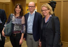 Landtagskandidatin Kerstin Gardill, Nürnbergs SPD-Chef Thorsten Brehm und Spitzenkandidatin Natascha Kohnen