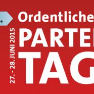 Banner mit dem Hinweis auf den 66. Landesparteitag am 27./28. Juni