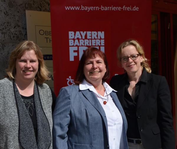 Bayern Barrierefrei Pressekonferenz am 14. April 2015 - Foto mit Ruth Waldmann, Sibylle Brandt und Natascha Kohnen (von links nach rechts)