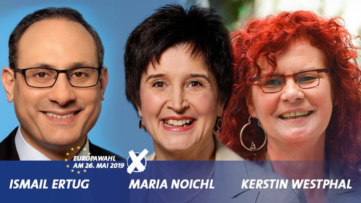 Die drei Spitzenkandidat*innen der BayernSPD für die Europawahl 2019