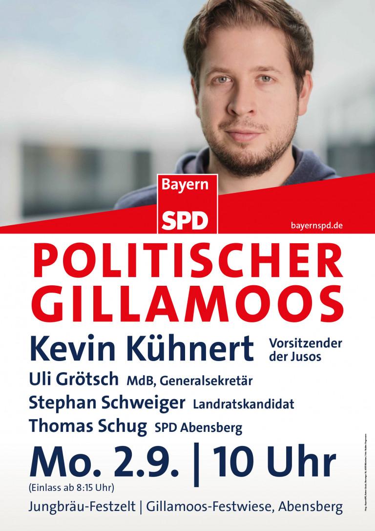 Plakat Gillamoos Kevin Kühnert 02-09-2019