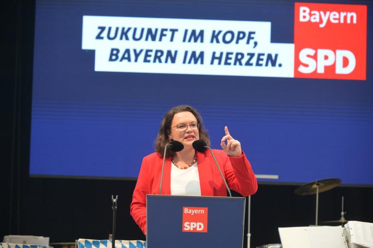 Andrea Nahles bei ihrer kämpferischen Rede