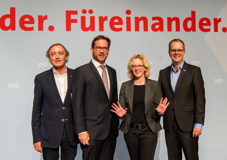 Franz Schindler, Florian Pronold, Natascha Kohnen und Markus Rinderspacher